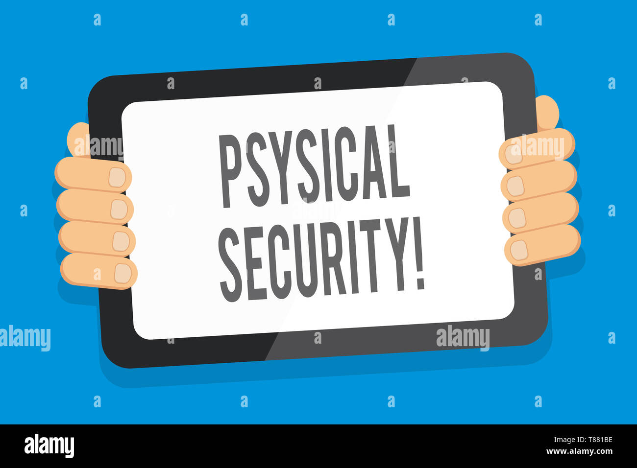 Word writing text Physical Security. Business photo showcasing designed to deny unauthorized access to facilities Color Tablet Smartphone with Blank S - Stock Image