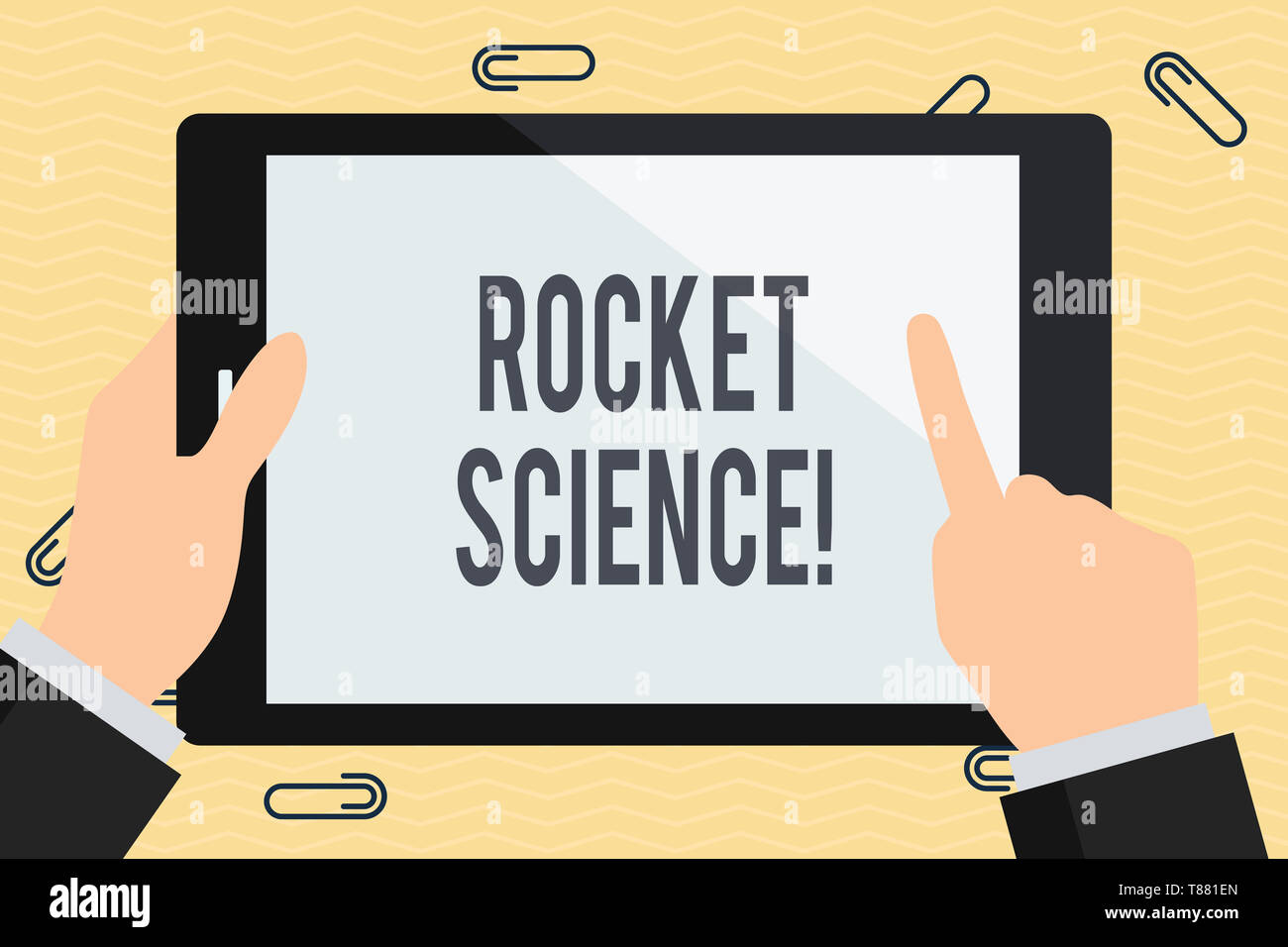Conceptual hand writing showing Rocket Science. Concept meaning difficult activity that you need to be intelligent to do Businessman Hand Holding and  - Stock Image