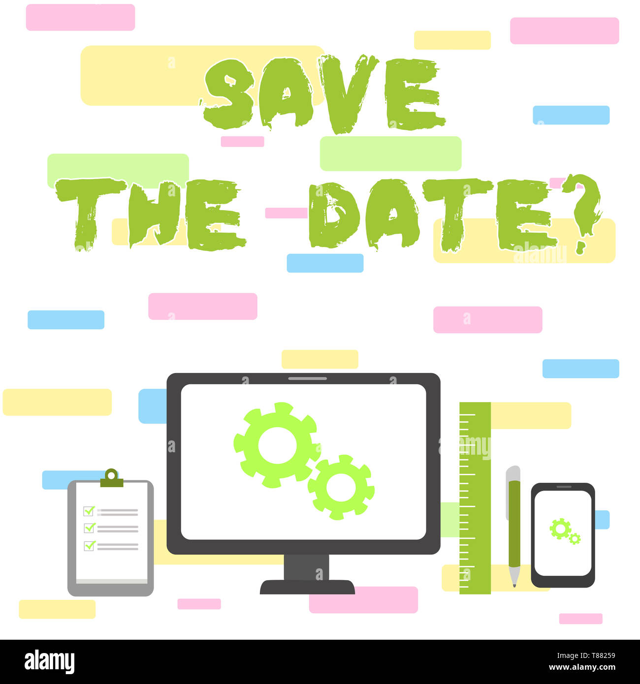 Writing note showing Save The Date question. Business concept for asking someone to remember specific day or time - Stock Image