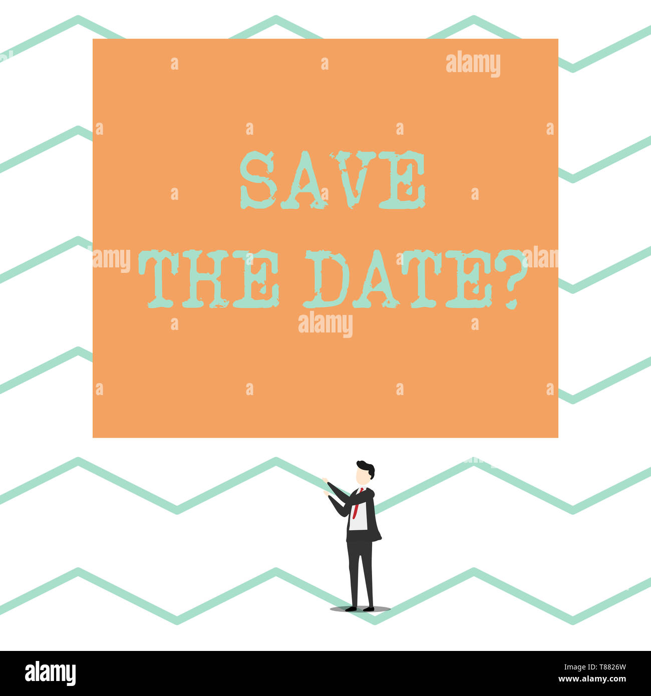 Conceptual hand writing showing Save The Date question. Concept meaning asking someone to remember specific day or time - Stock Image