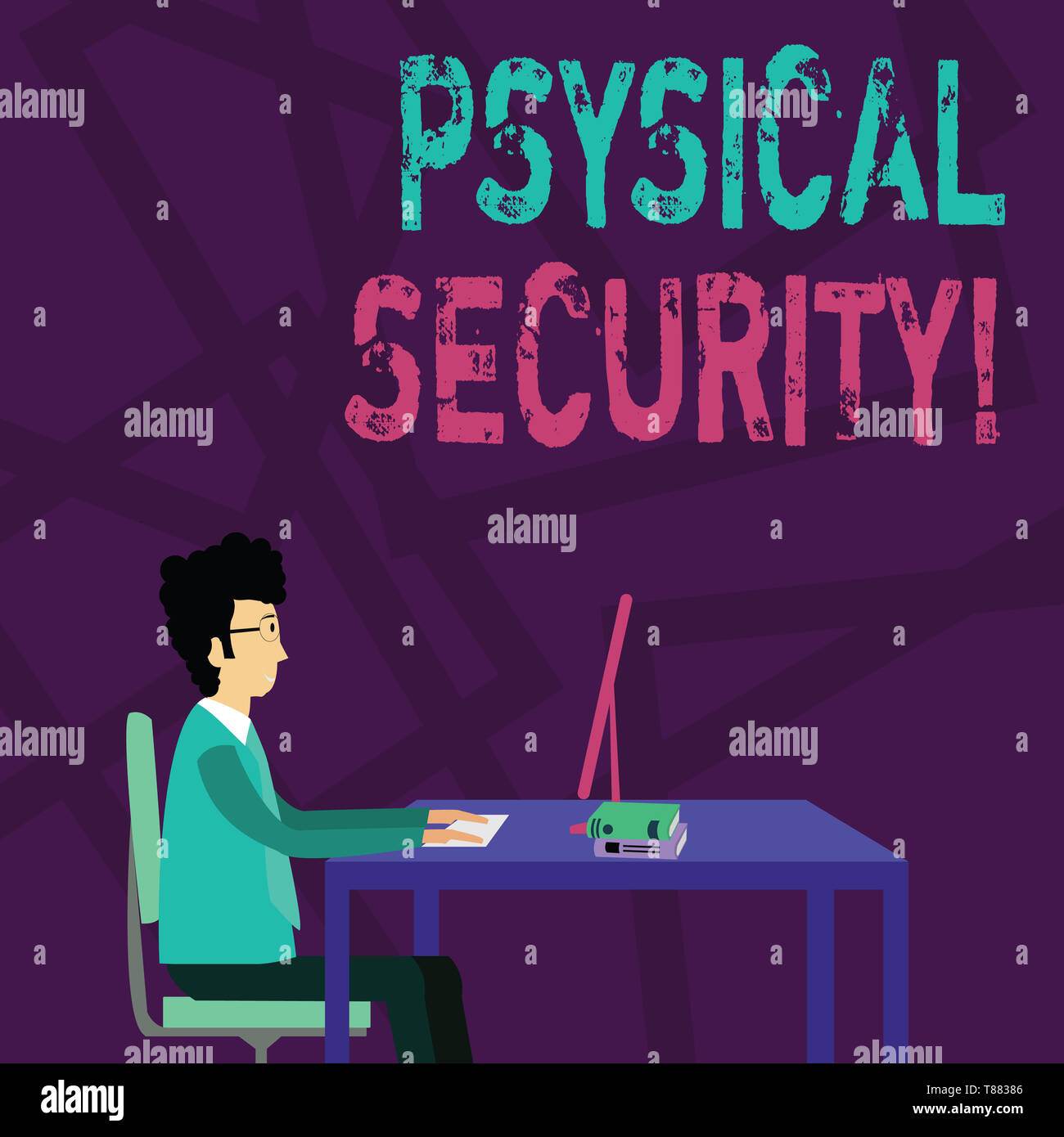 Handwriting text Physical Security. Conceptual photo designed to deny unauthorized access to facilities Businessman Sitting Straight on Chair Working  - Stock Image