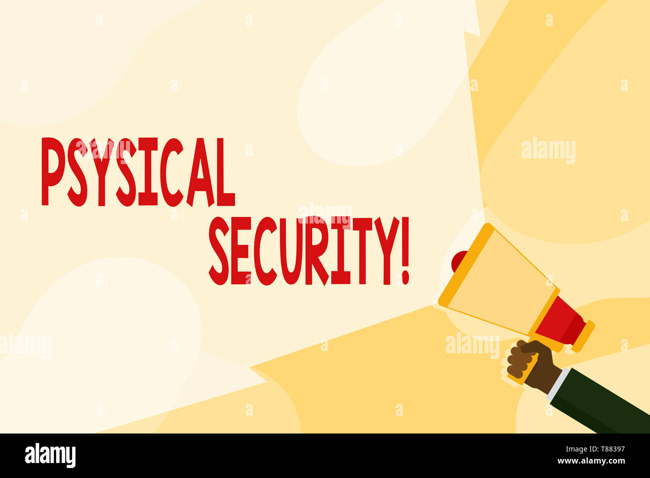 Text sign showing Physical Security. Business photo text designed to deny unauthorized access to facilities Hand Holding Megaphone with Blank Wide Bea - Stock Image