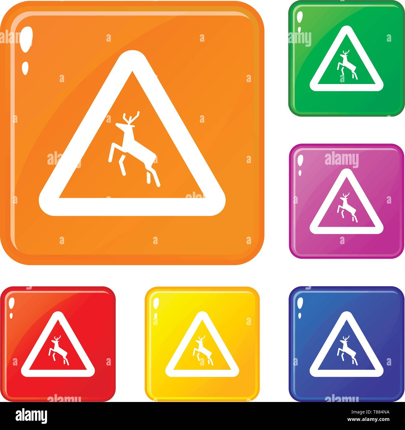 Deer traffic warning sign icons set vector color - Stock Image
