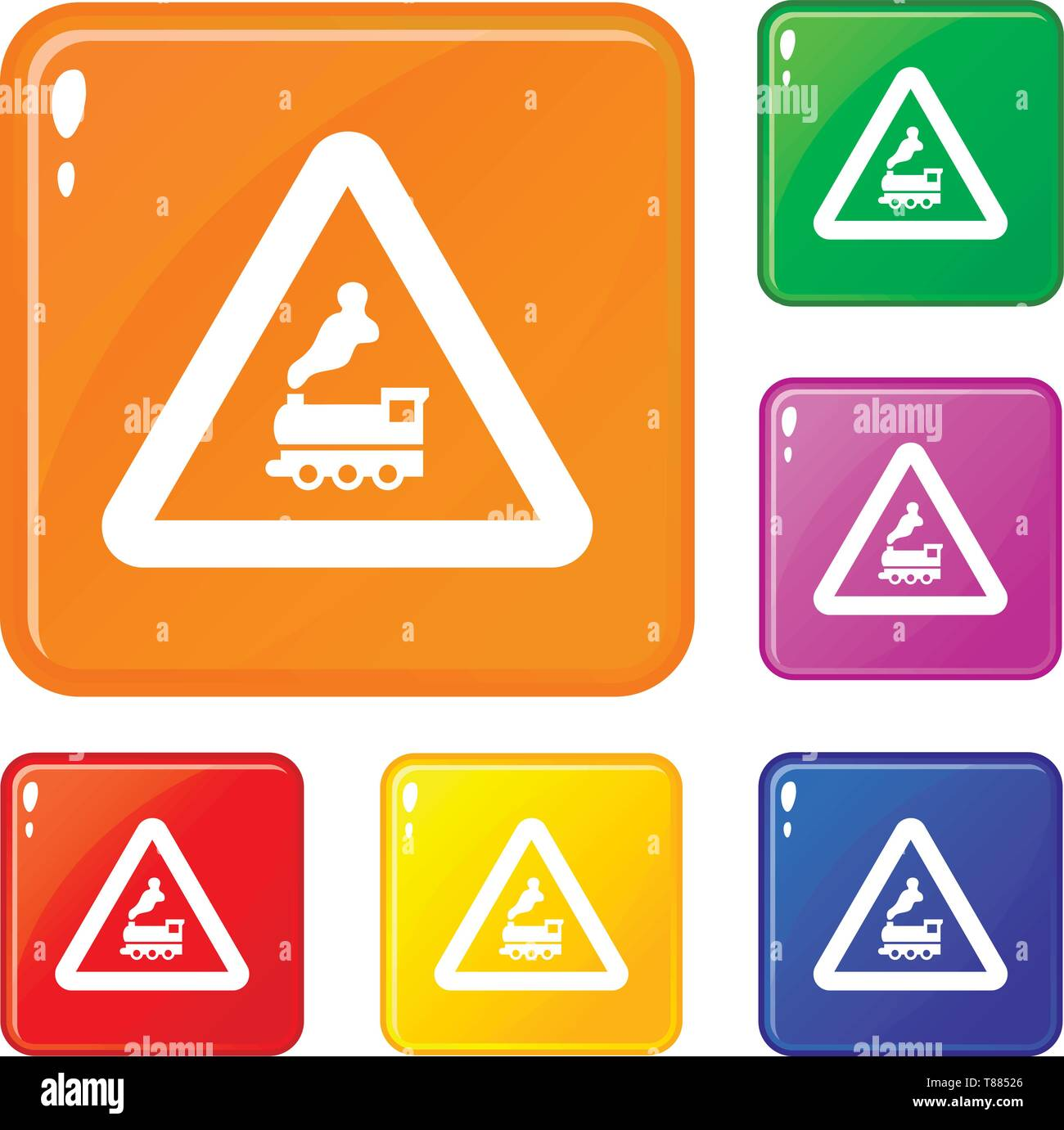 Warning sign railway crossing without barrier icons set vector color - Stock Image