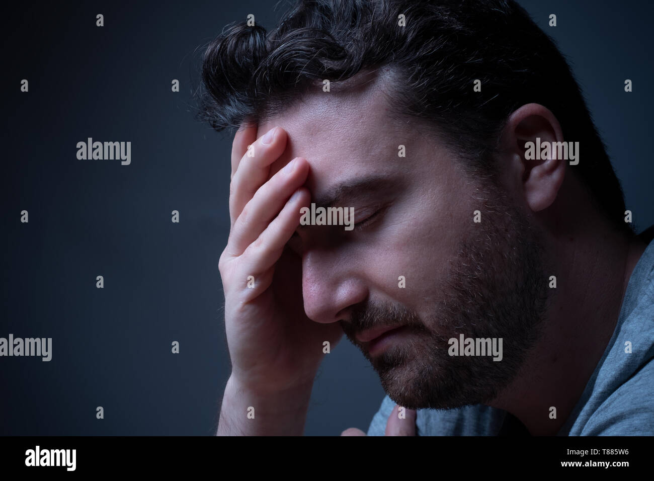 Man suffering for the mental disorder disturb - Stock Image