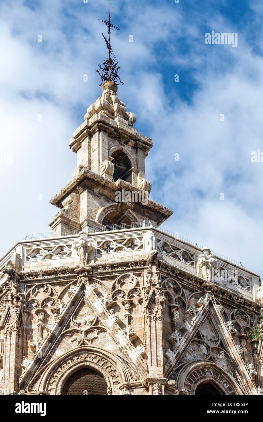 Spain Valencia Cathedral Miguel tower, medieval gothic architecture detail Stock Photo