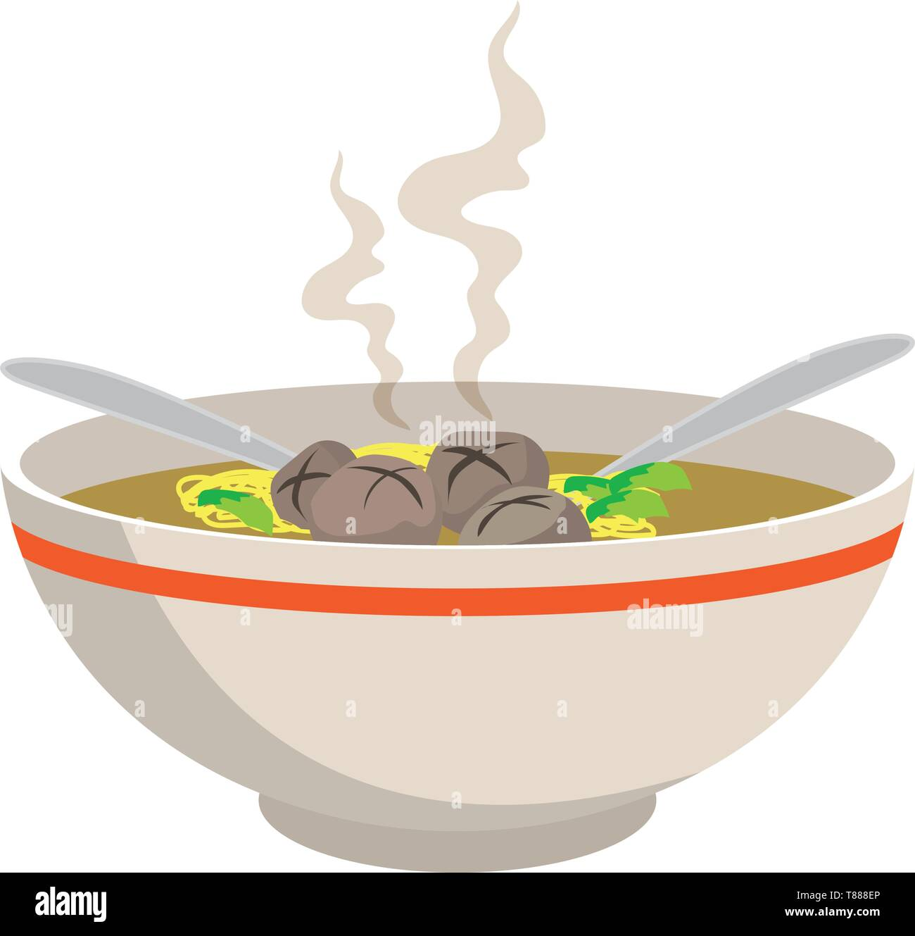 hot noodle soup with meat balls in chinese bowl and spoons on white background, vector illustration - Stock Vector