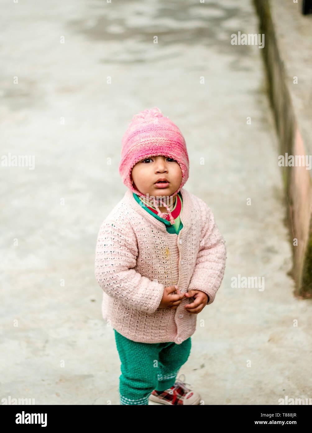 Kullu, Himachal Pradesh, India - February 05, 2019 : Photo of A Himalayan Boy in Himalayas - India - Stock Image