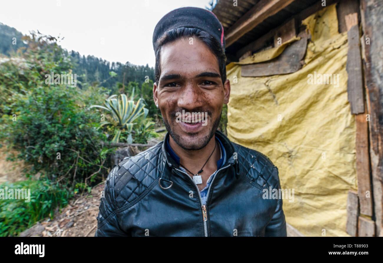 Kullu, Himachal Pradesh, India - November 30, 2018 : Photo of A Himalayan Boy in Himalayas - India - Stock Image