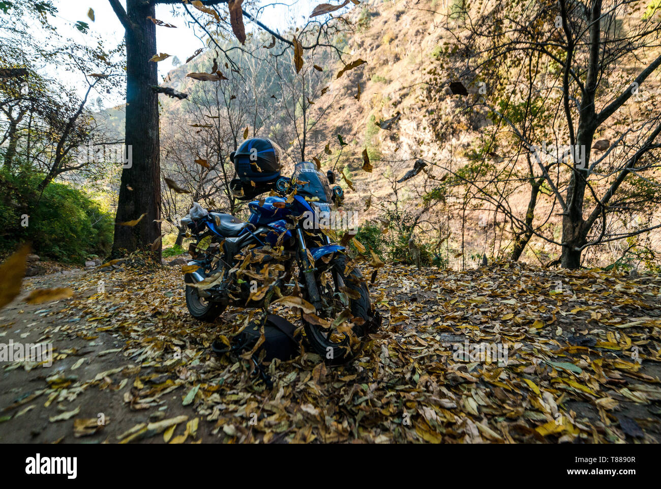 Kullu, Himachal Pradesh, India - December 02, 2018 : Motorcycle in Autumn season - - Stock Image
