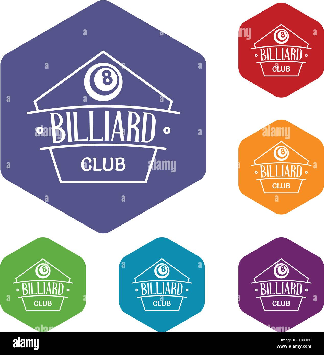 Billiard icons vector hexahedron - Stock Image