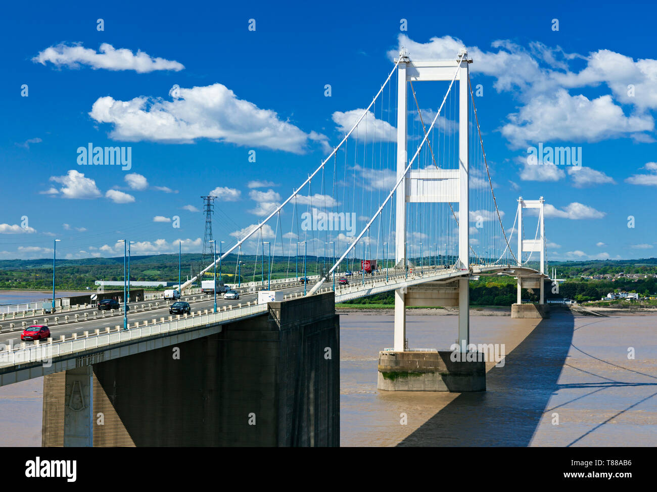 Severn Wye Bridge connecting England and Wales, looking from England to Wales. - Stock Image