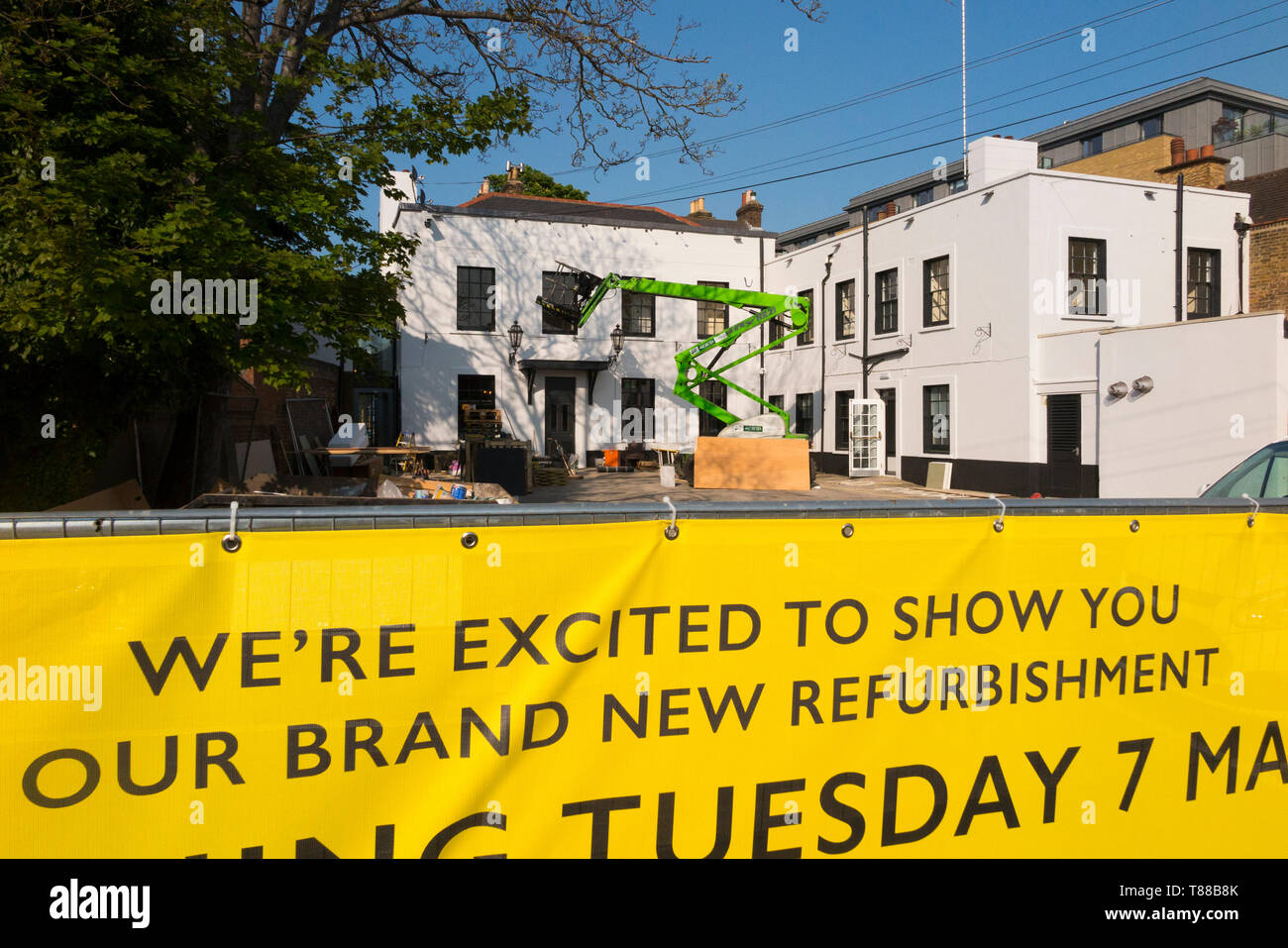 The Anglers pub / public house on Broom Road in Teddington while undergoing a refurbishment. Teddington, Middlesex. England UK (108) - Stock Image