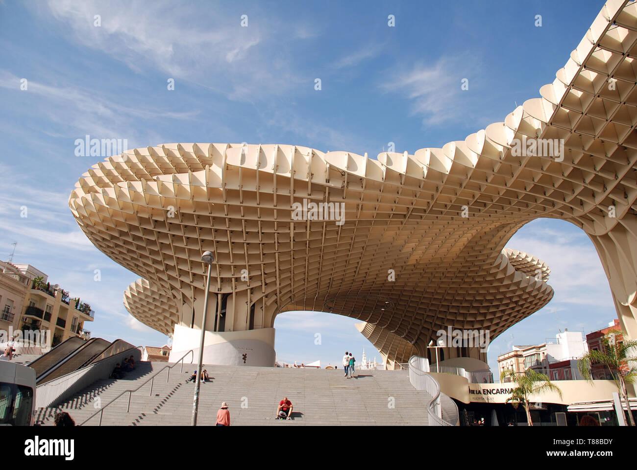 The Metropol Parasol, known as Las Setas de Sevilla (Mushrooms of Seville) at the Plaza de la Encarnacion in Seville, Spain on April 2, 2019. Stock Photo