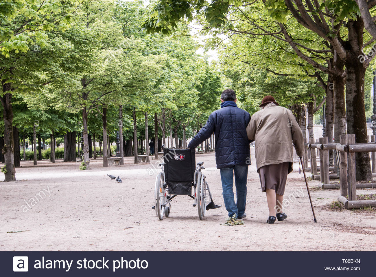 Paris (France), May 6, 2019. Elderly accompanied person taking a walk in the Tuileries gardens, near Louvre in Paris. - Stock Image