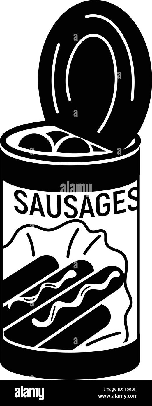Sausage tin can icon, simple style - Stock Image