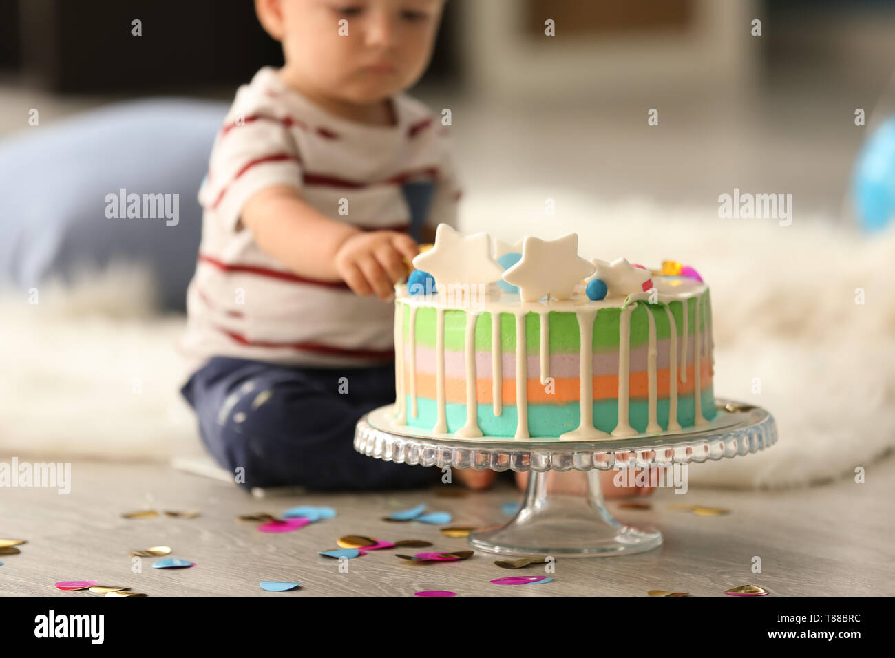 Magnificent Cute Little Boy With Birthday Cake Sitting On Floor In Room Stock Funny Birthday Cards Online Inifofree Goldxyz
