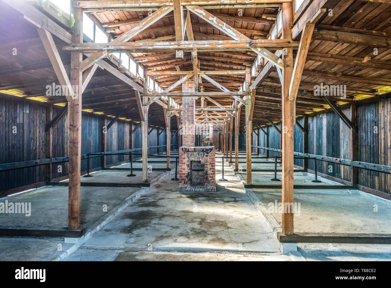 AUSCHWITZ (OSWIECIM), POLAND - APRIL 18, 2019: Original dormitory in barrack at Auschwitz Birkenau extermination camp in Oswiecim, Poland - Stock Image