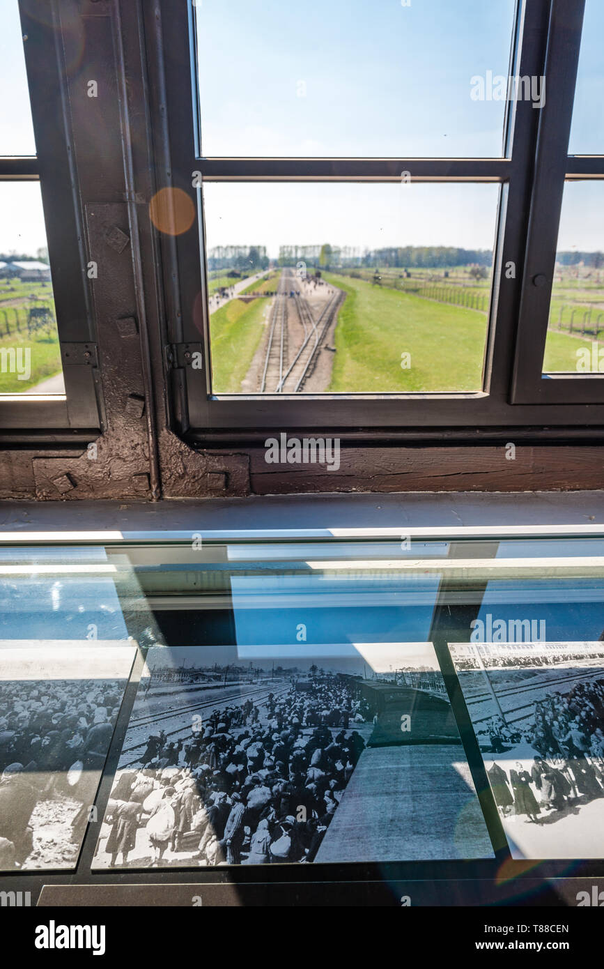 AUSCHWITZ (OSWIECIM), POLAND - APRIL 18, 2019: Aerial view of railway platform in Auschwitz Birkenau extermination death camp, Poland. This platform w - Stock Image