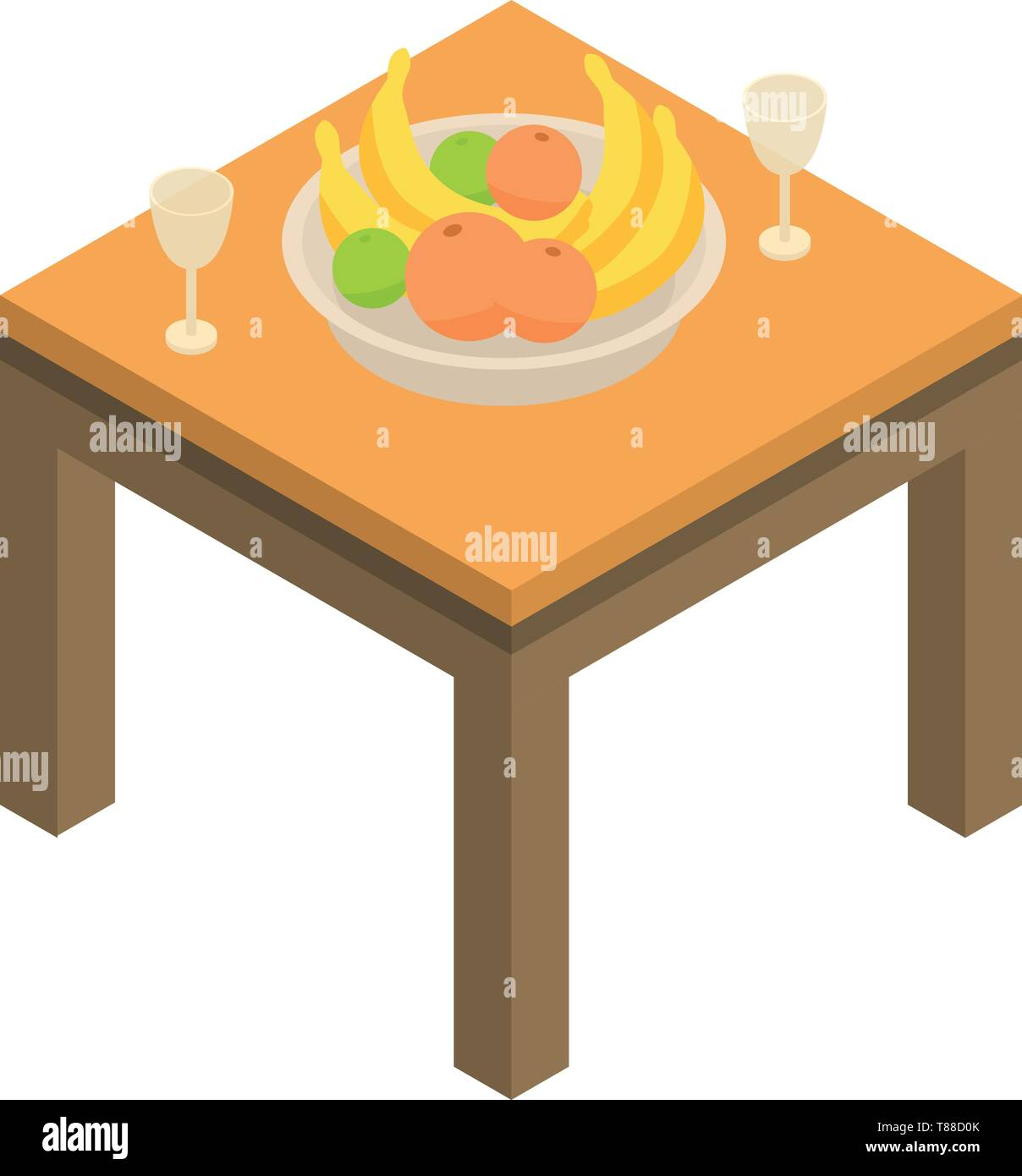 Fruits on table icon, isometric style - Stock Vector