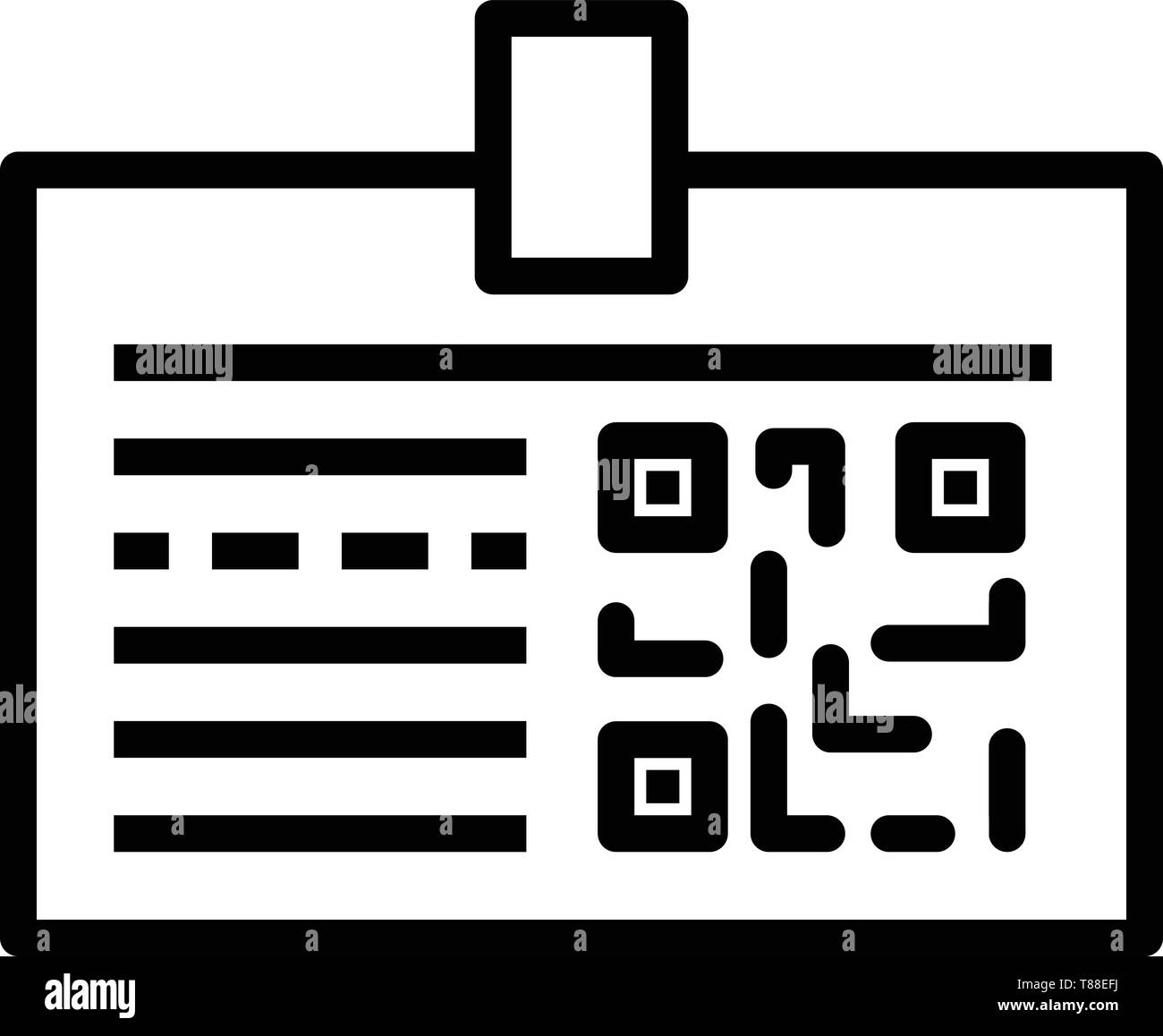 Badge with QR code icon, outline style Stock Vector Art