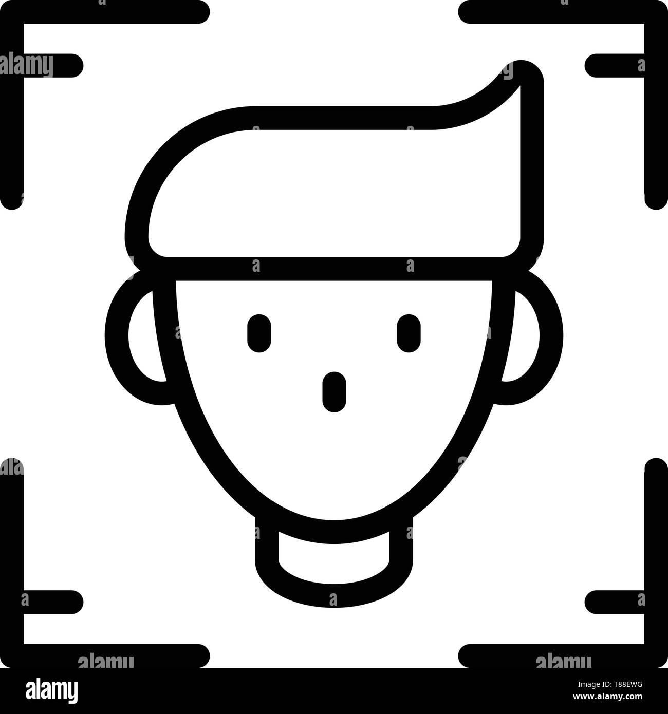 Person identified icon, outline style - Stock Image