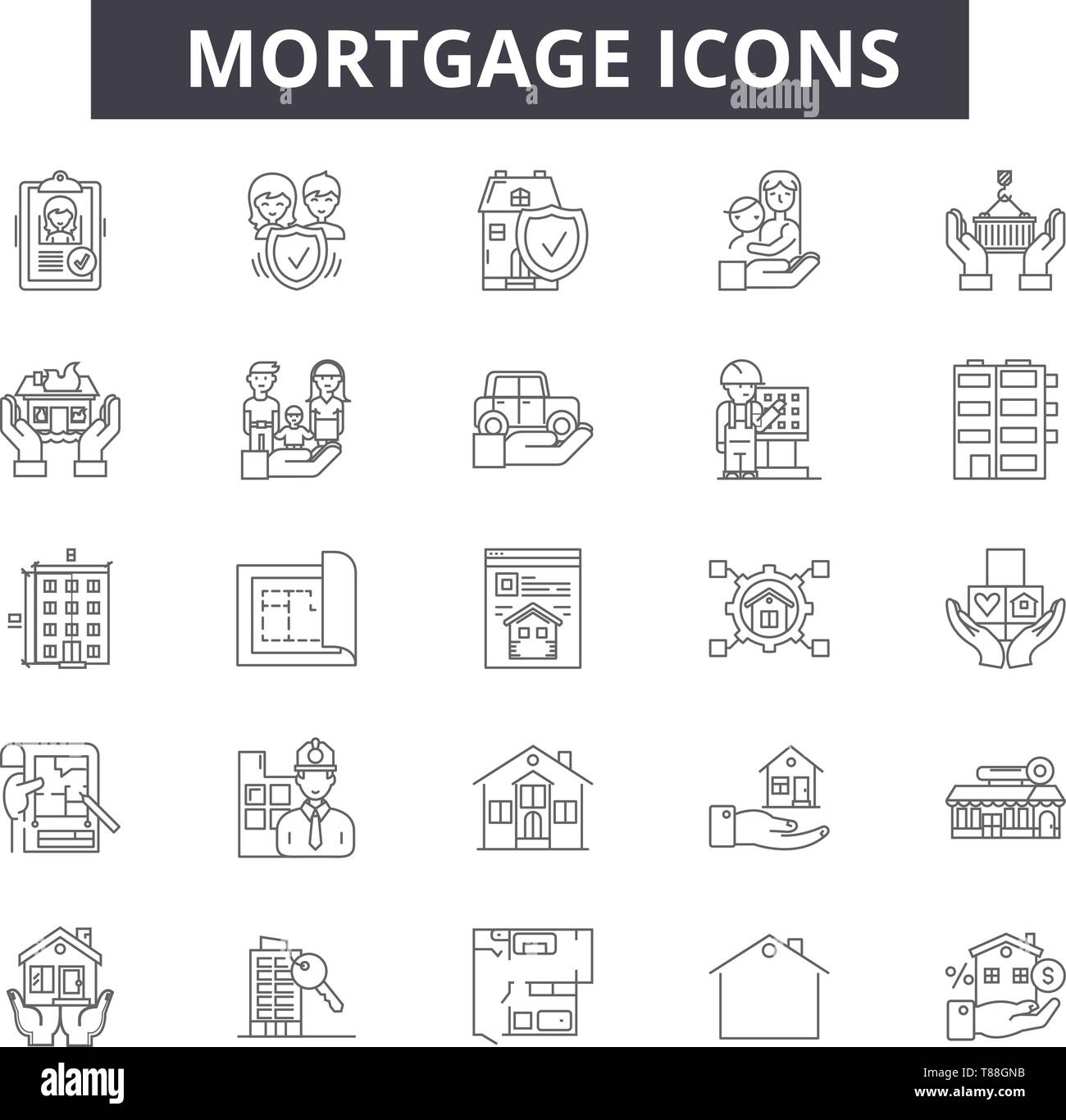Mortgage concept line icons, signs, vector set, outline concept, linear illustration - Stock Image