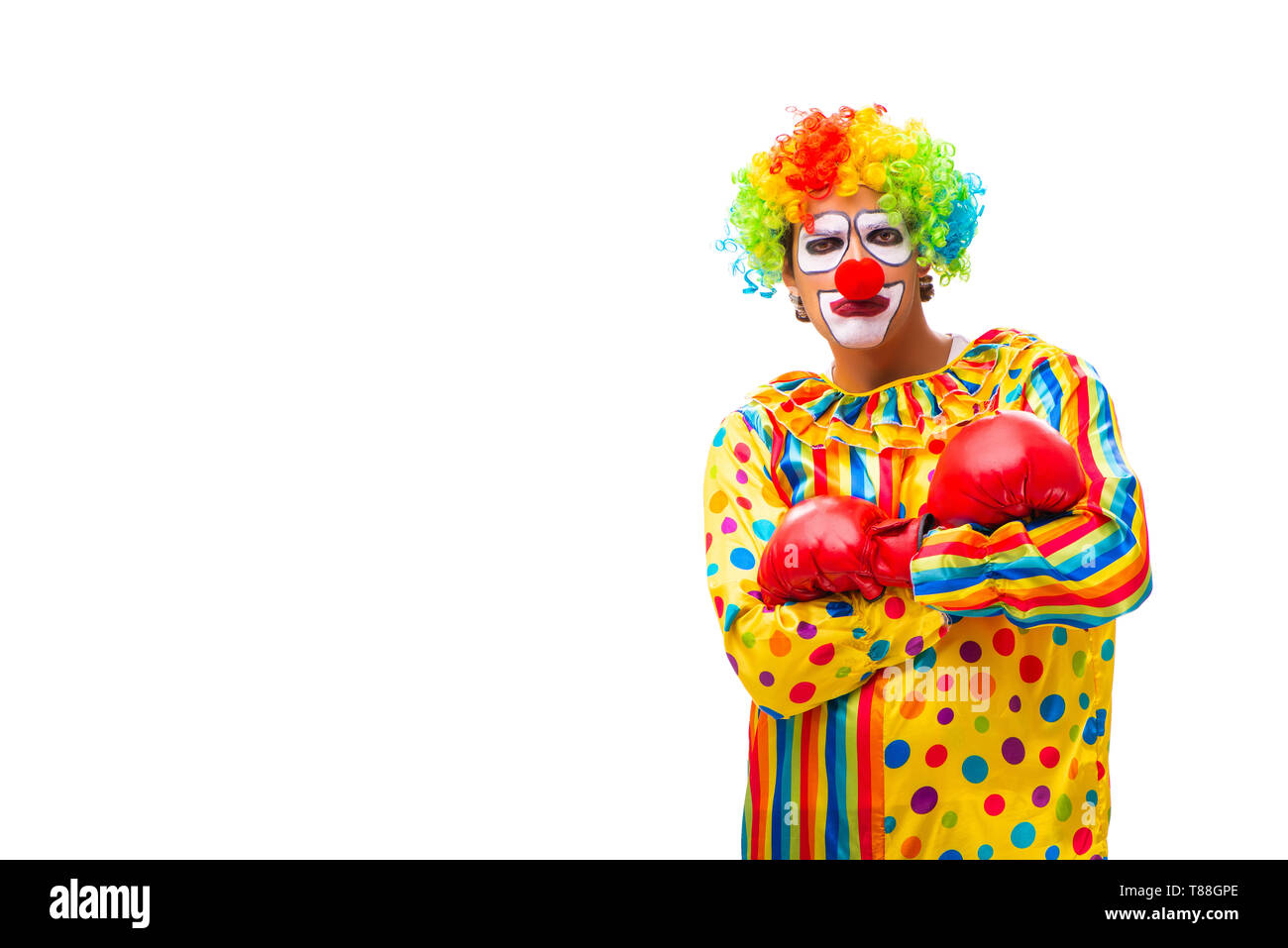 Male clown isolated on white - Stock Image