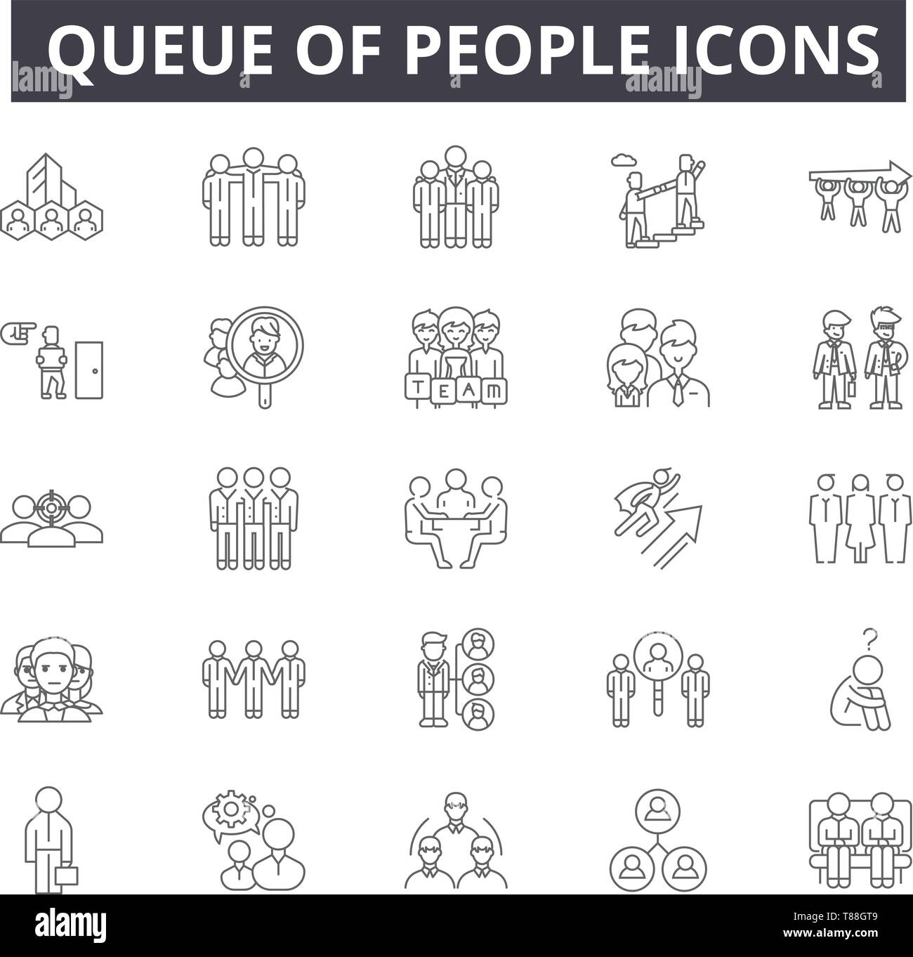 Queue of people line icons, signs, vector set, outline