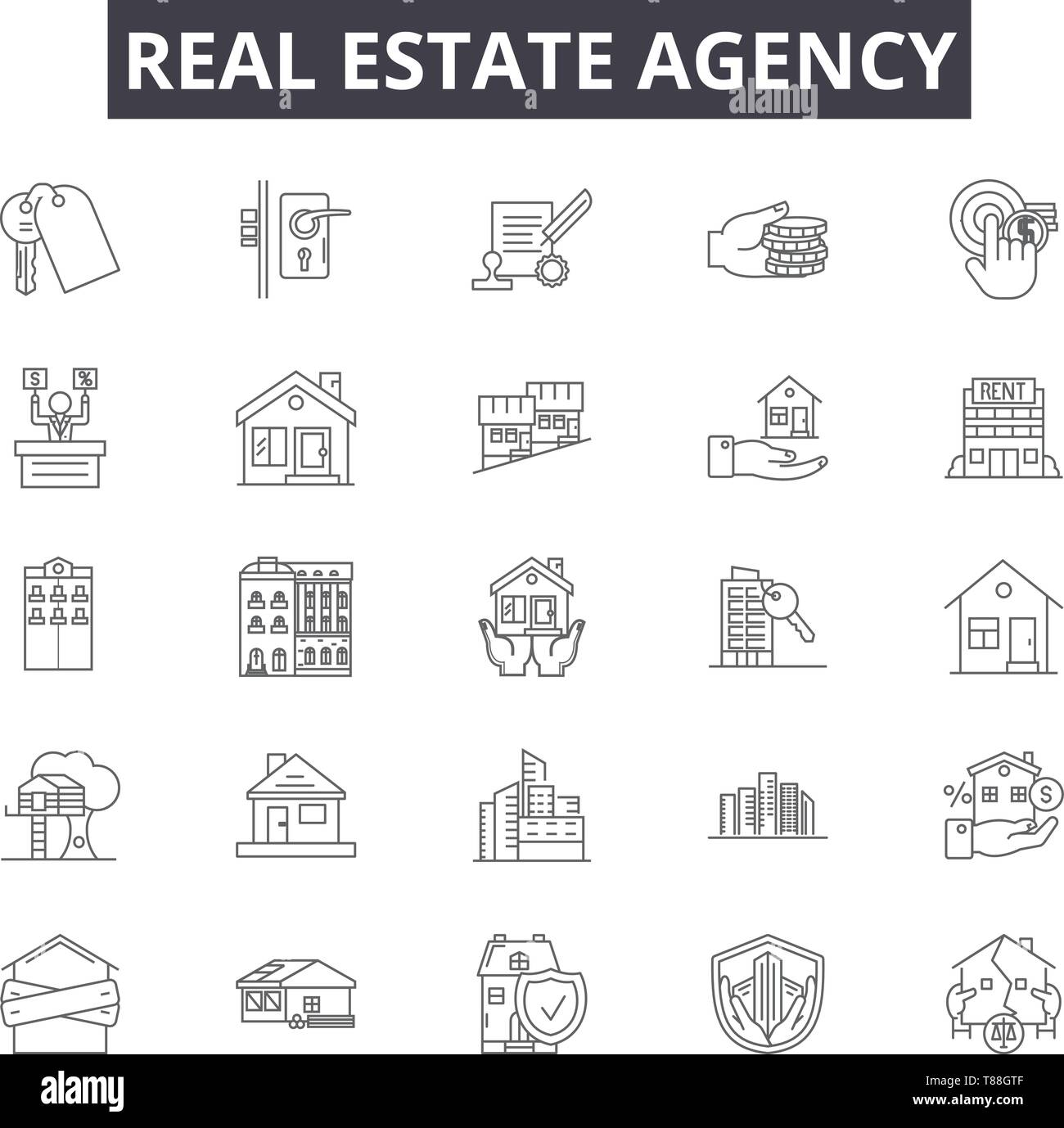 Real estate agency line icons, signs, vector set, outline concept, linear illustration Stock Vector