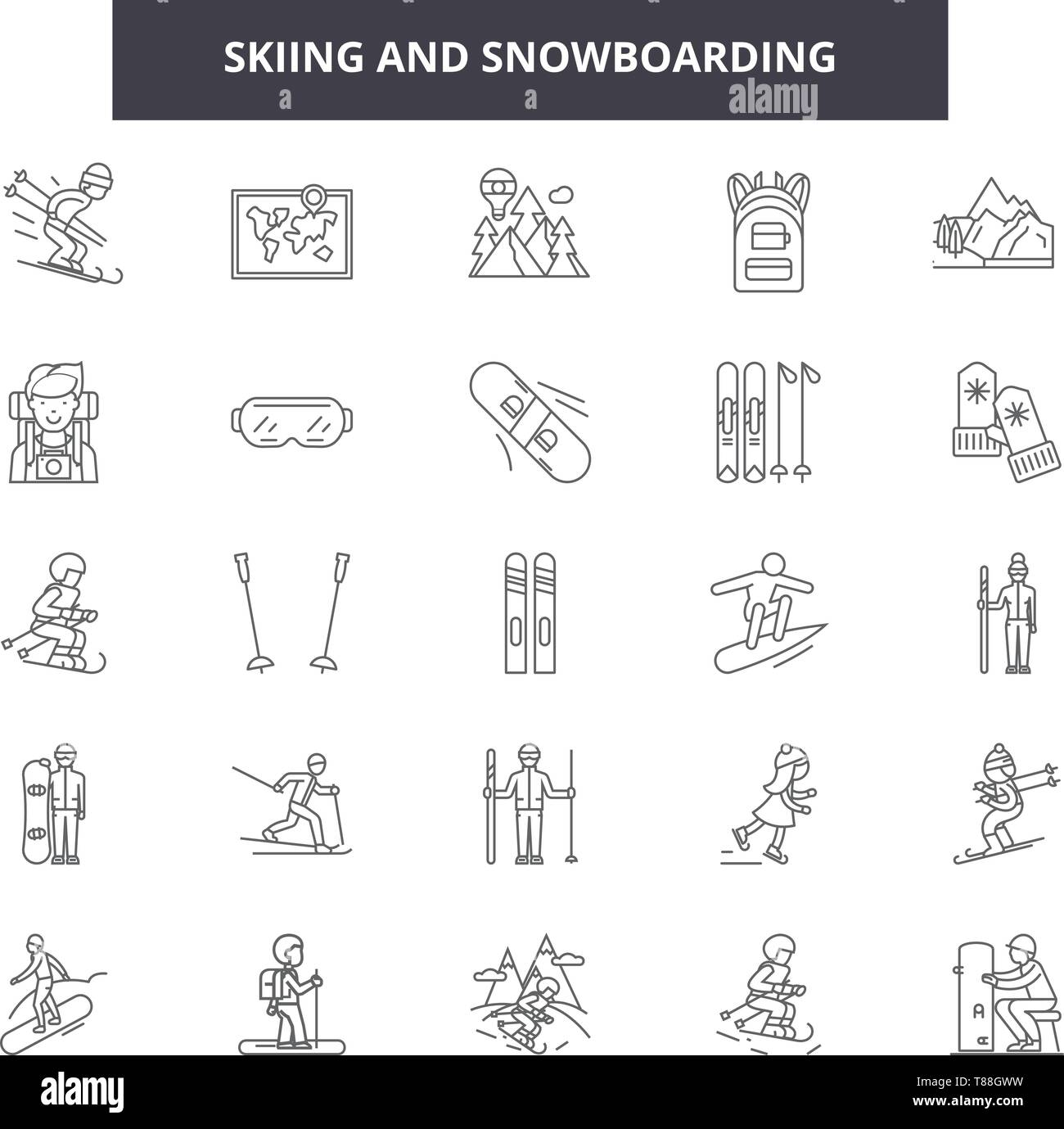 Skiing and snowboadrding line icons, signs, vector set, outline concept, linear illustration - Stock Image