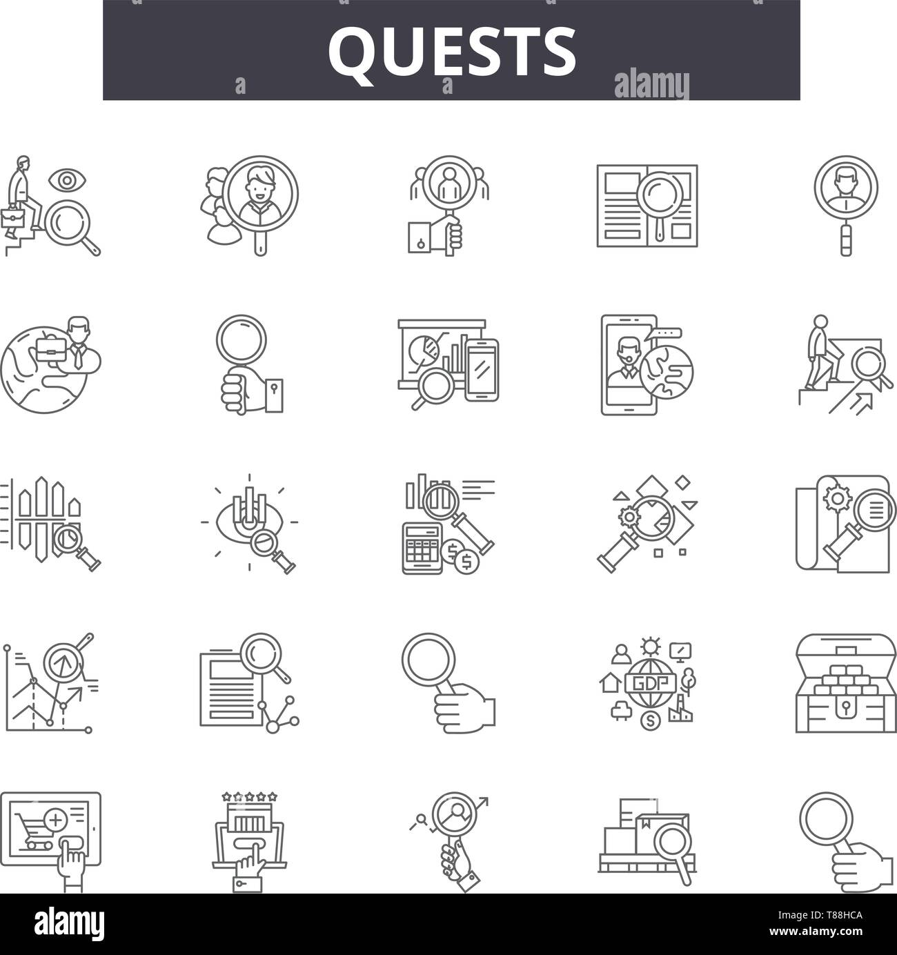 Quests line icons, signs, vector set, linear concept, outline illustration - Stock Vector