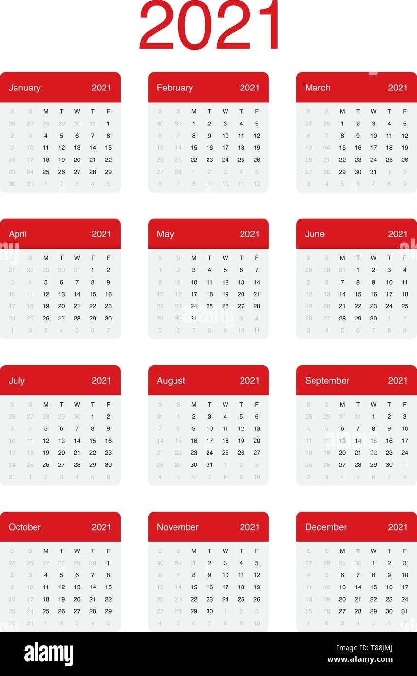 2021 Calendar Clean Minimal Simple Vector Design with a basic grid