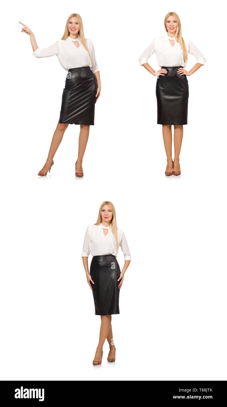 Pretty woman in leather skirt isolated on white - Stock Image