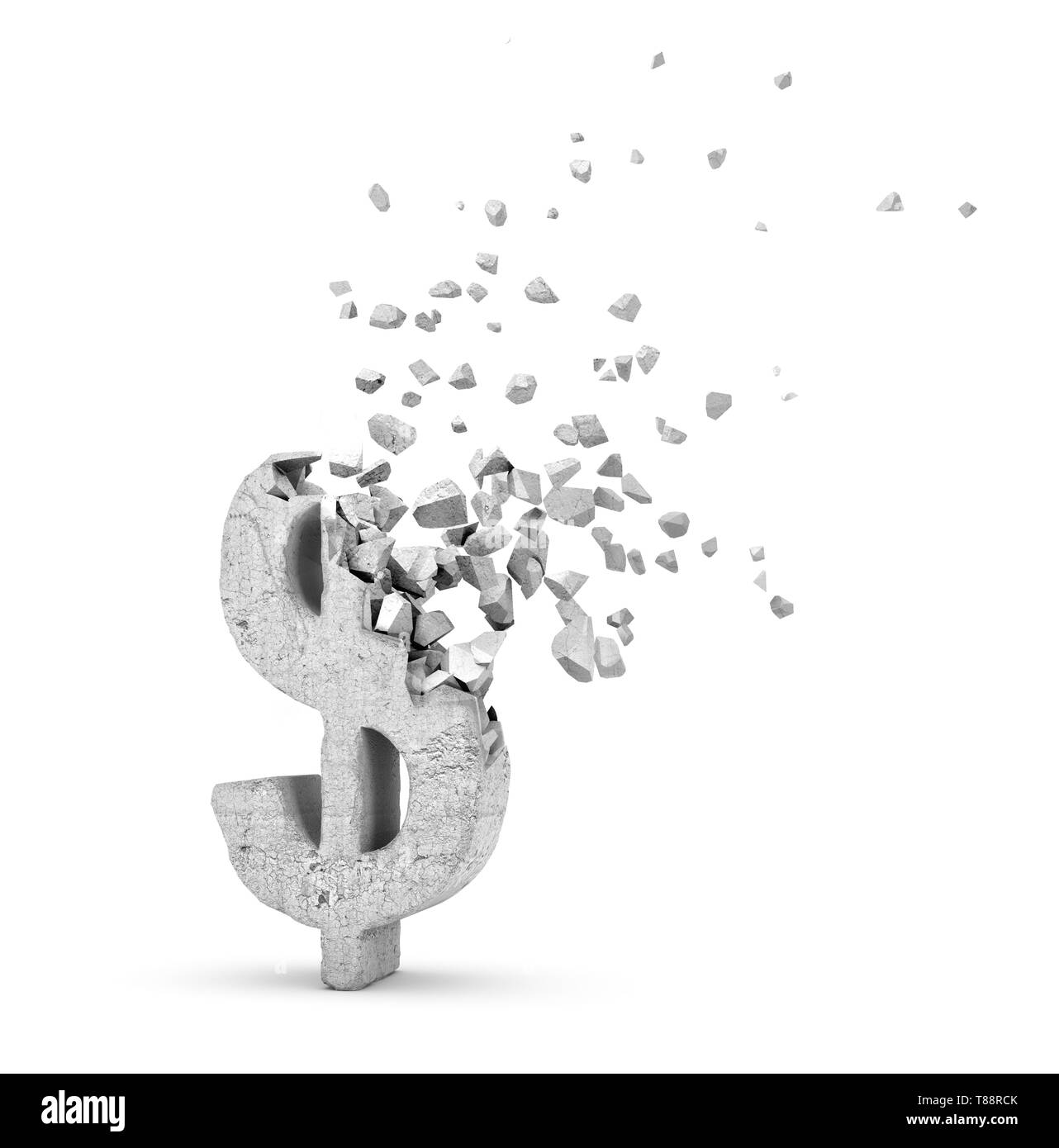 3d rendering of light-grey concrete dollar sign starting to dissolve into pieces on white background. - Stock Image