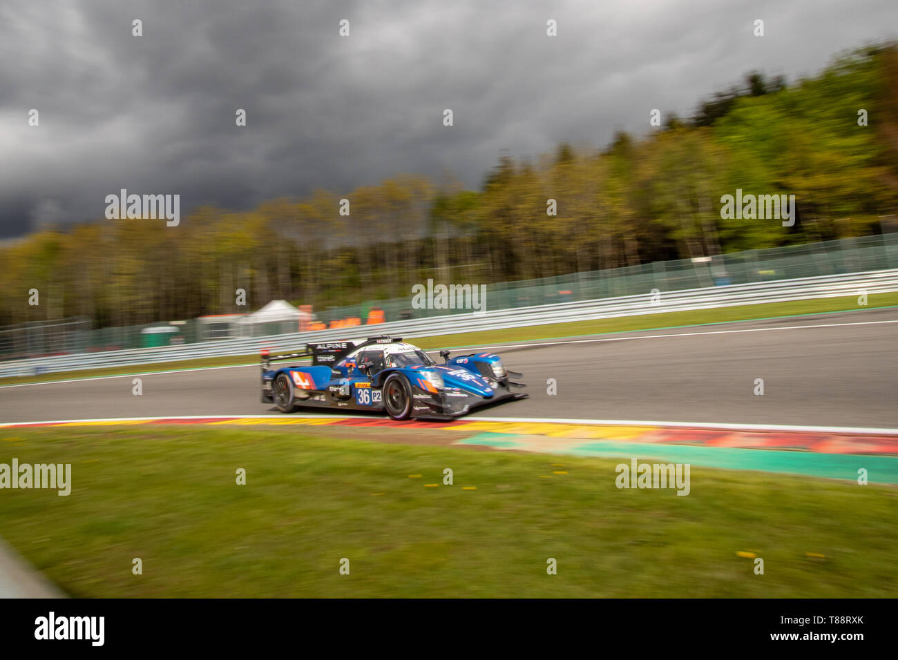 Signatech Alpine Matmut LMP2 heads into Les Combes chicane . WEC Total 6 Hours of Spa-Francorchamps 2019 Stock Photo
