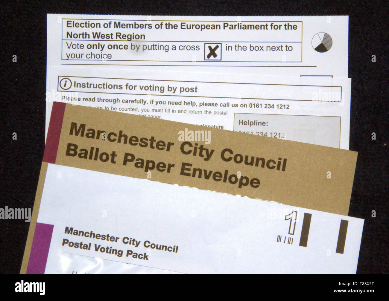 Postal voting pack sent to a voter by Manchester City Council in the United Kingdom for the European Elections on 23rd May 2019 - Stock Image