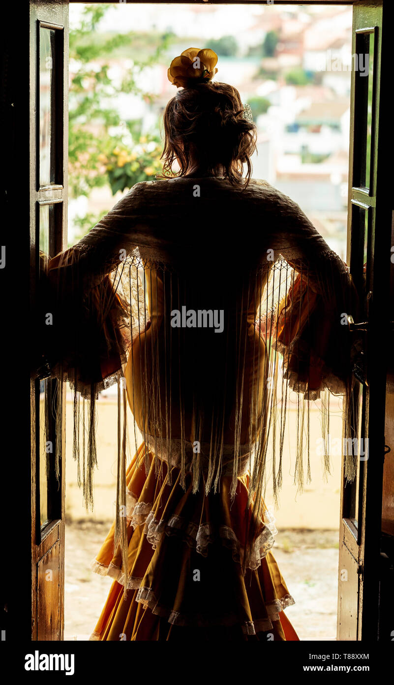Silhouette of a Spanish flamenco dancer standing at the door - Stock Image