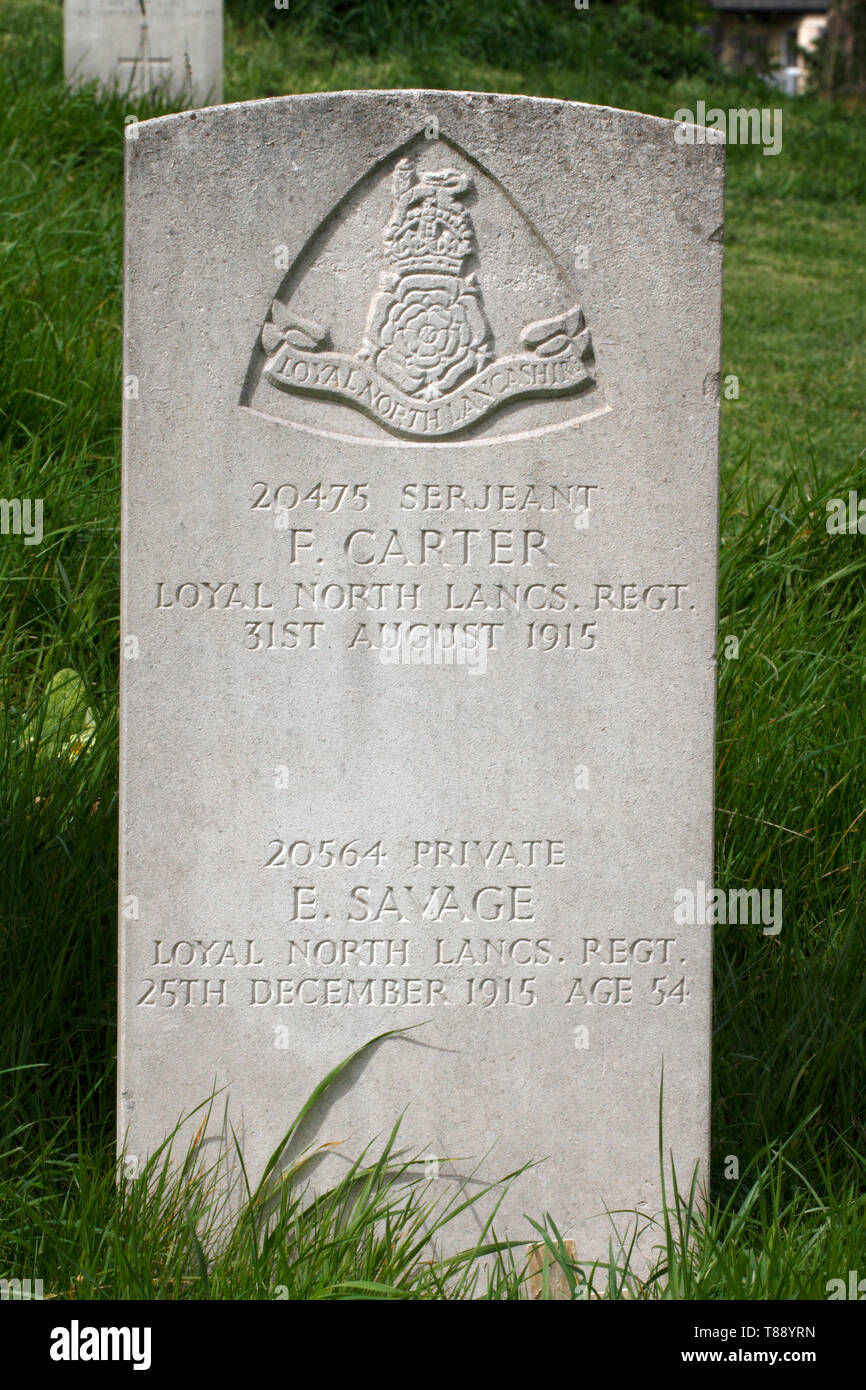 Loyal North Lancs Regiment. Serjeant F. Carter commonwealth war graves - Stock Image