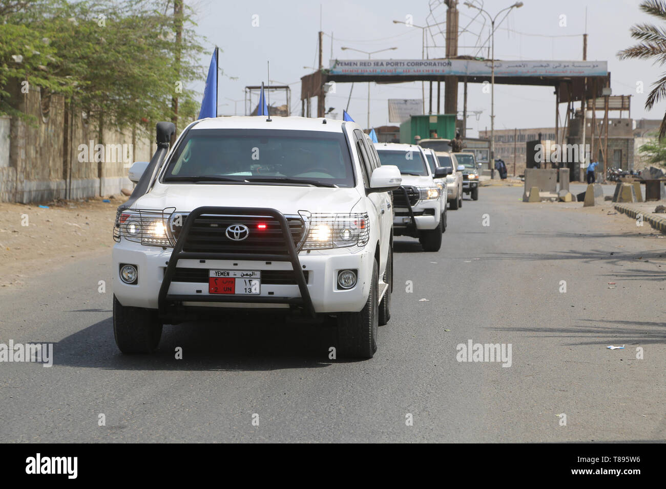 (190511) -- HODEIDAH (YEMEN), May 11, 2019 (Xinhua) -- UN vehicles are seen on their way from the Hodeidah main port to Salif port, in Hodeidah, Yemen, on May 11, 2019. Yemen's Houthi rebels began on Saturday withdrawal from two ports of Hodeidah Province, eyewitnesses said. (Xinhua) Stock Photo