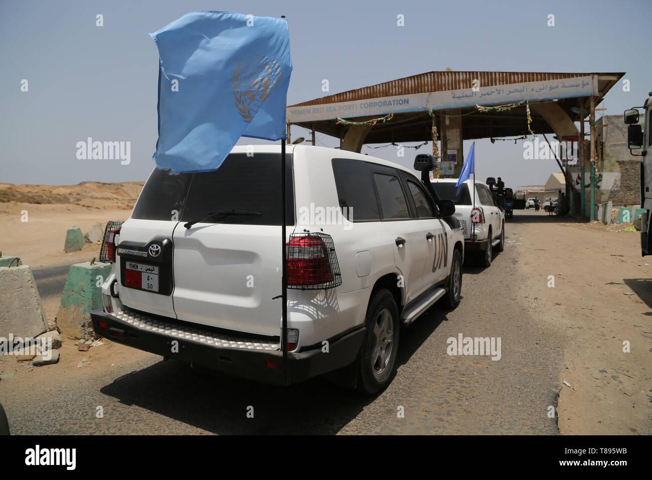 (190511) -- HODEIDAH (YEMEN), May 11, 2019 (Xinhua) -- UN vehicles arrive at the entrance of Salif port in Hodeidah, Yemen, on May 11, 2019. Yemen's Houthi rebels began on Saturday withdrawal from two ports of Hodeidah Province, eyewitnesses said. (Xinhua) Stock Photo