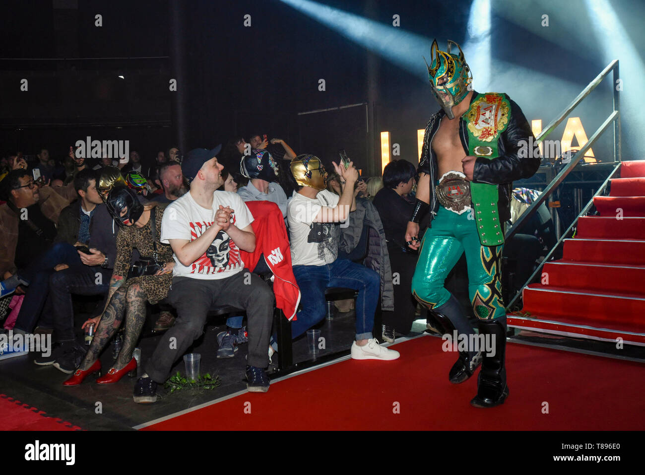 "London, UK.  11th May 2019. Laredo Kid arrives for the evening slot at ""The Greatest Show of Lucha Libre"" at the Roundhouse in Camden.  Lucha Libre is a unique form of Mexican professional wrestling characterised by colourful masks, elaborate costumes, acrobatic techniques and high-flying manoeuvres in which good battles evil through fierce and spectacular competition.  Credit: Stephen Chung / Alamy Live News Stock Photo"