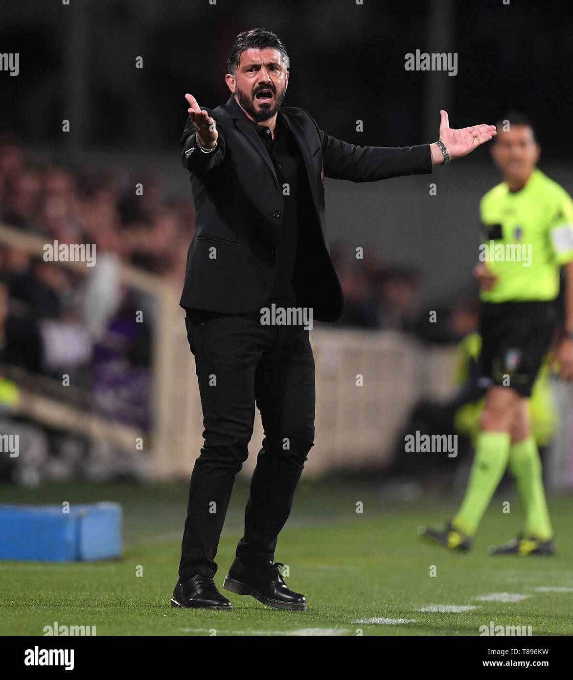 Florence Italy 11th May 2019 Ac Milan S Head Coach Gennaro Gattuso Reacts During A Serie A Soccer Match Between Fiorentina And Ac Milan In Florence Italy May 11 2019 Fiorentina Lost 0 1
