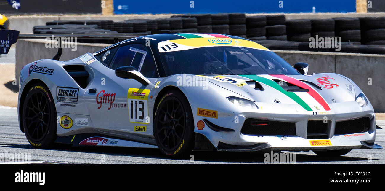 Monterey, California, USA. 11th May 2019. Ferrari Challenge Race 1 S/S-AM # 113 Geoff Palermo on the grid during the Ferrari Challenge at Weathertech Raceway Laguna Seca Monterey CA Thurman James/CSM Credit: Cal Sport Media/Alamy Live News - Stock Image