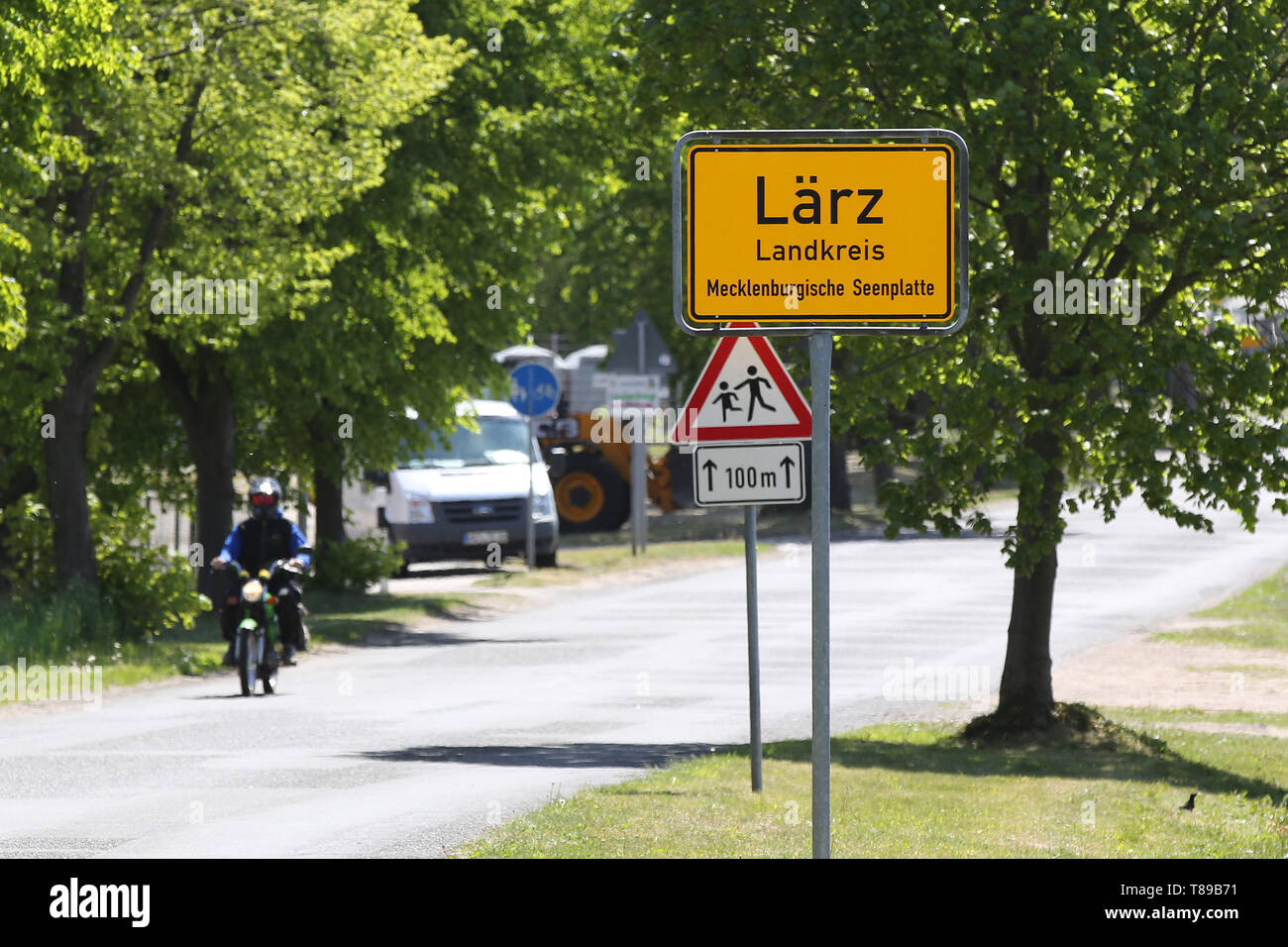 Larz, Germany  12th May, 2019  The place name sign of Lärz is to be