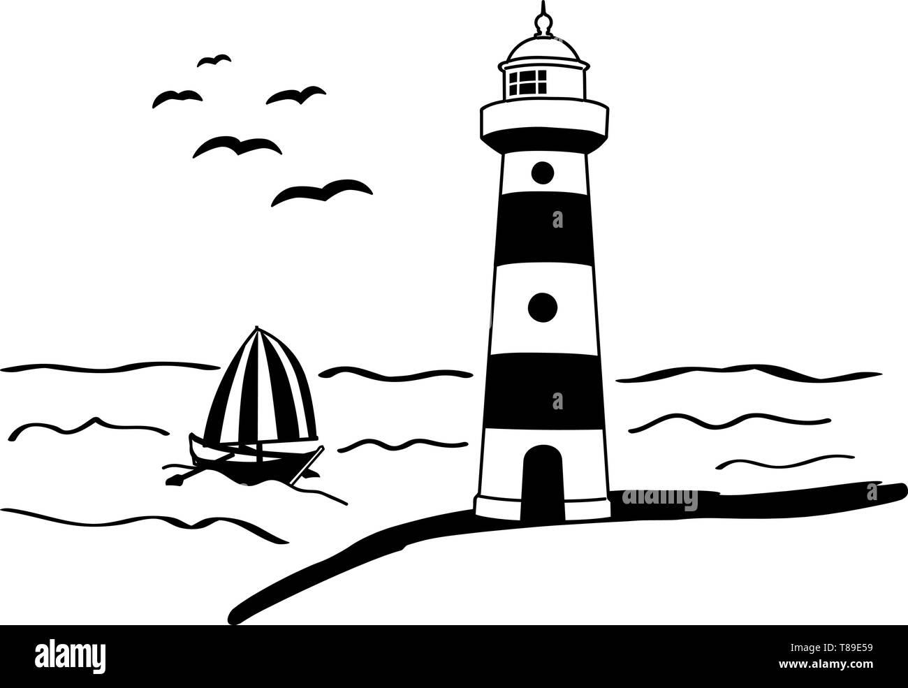wall decal lighthouse shine light sea maritime boat ship sailboat - Stock Vector