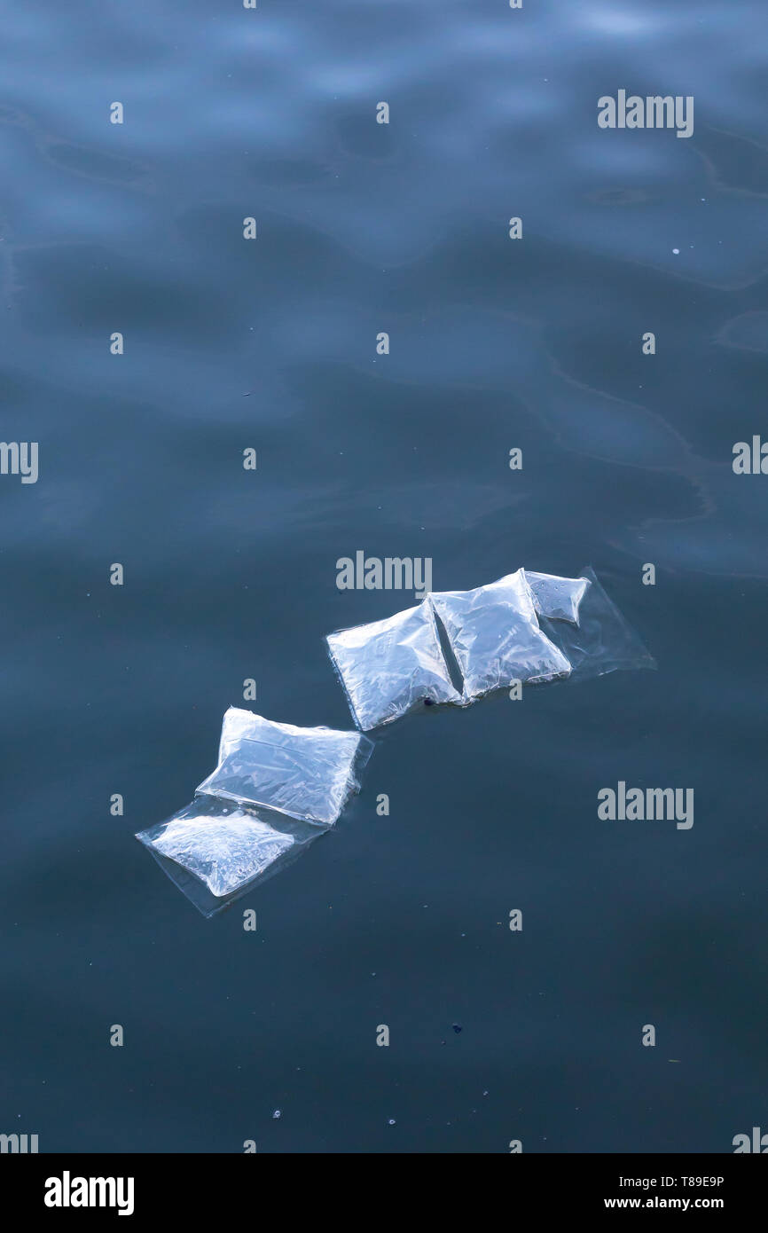 plastic marine pollution, underwater plastic bags and packaging floating semi submerged at surface of water - Stock Image