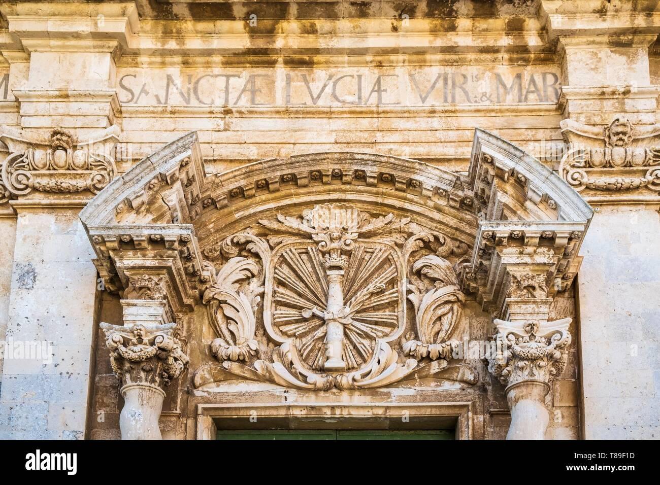 Italy, Sicily, Syracuse, the historical centre on Ortigia island, UNESCO World Heritage site, Piazza Duomo, Santa Lucia alla Badia church - Stock Image