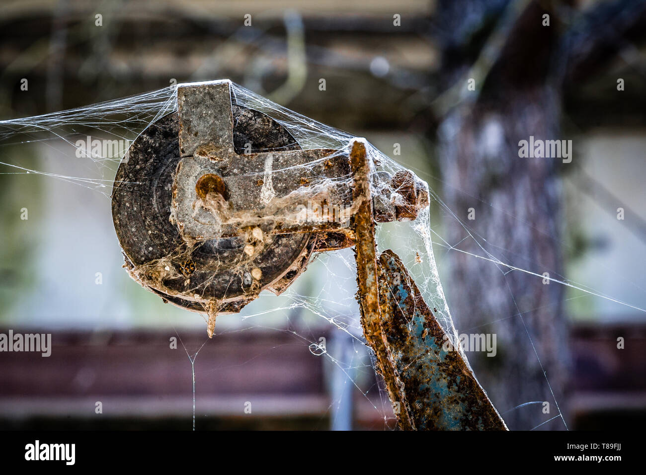 Rusted pulley with spider web in an abandoned farm in Belarus Chernobyl exclusion zone, - Stock Image