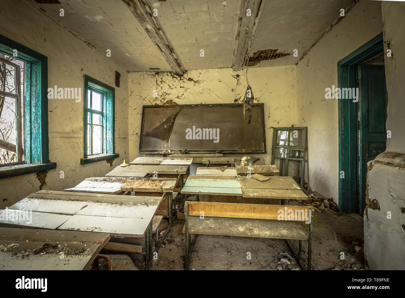 Abandoned school in Belarus Chernobyl exclusion zone, recently opened for the public from april 2019. - Stock Image